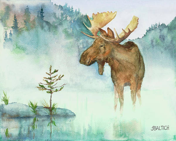 Painting - Moose And Tree by Joe Baltich