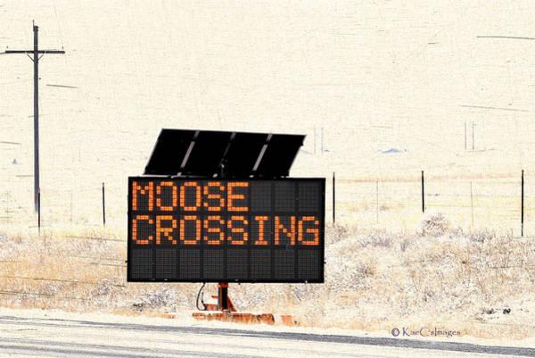 Wall Art - Mixed Media - Moose Crossing Highway Sign by Kae Cheatham