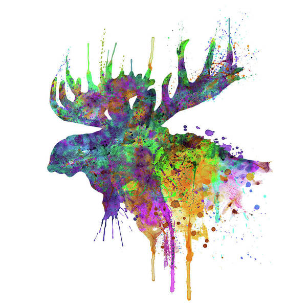 Wall Art - Painting - Moose Head Watercolor Silhouette by Marian Voicu