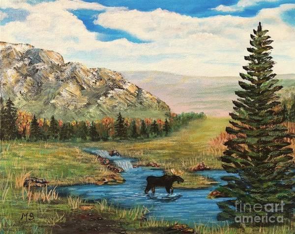 Painting - Moose In The Rut by Monika Shepherdson