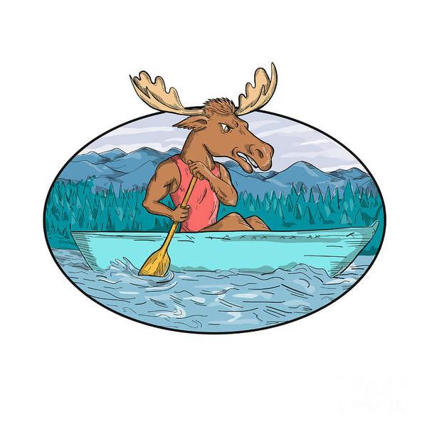 Wall Art - Digital Art - Moose Paddling Canoe Drawing Oval by Aloysius Patrimonio
