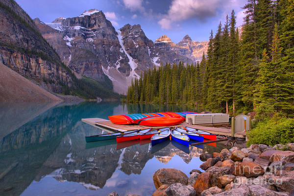 Photograph - Moraine Lake Canoes And Reflections by Adam Jewell