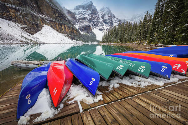 Canadian Rockies Wall Art - Photograph - Moraine Lake Canoes by Inge Johnsson