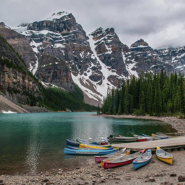 Canoe Photograph - Moraine Lake Canoes by Wr Mekwi