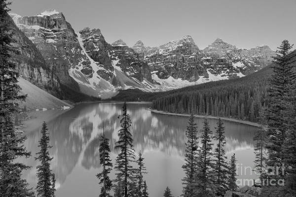 Photograph - Moraine Lake Clear Spring Sunrise Black And White by Adam Jewell