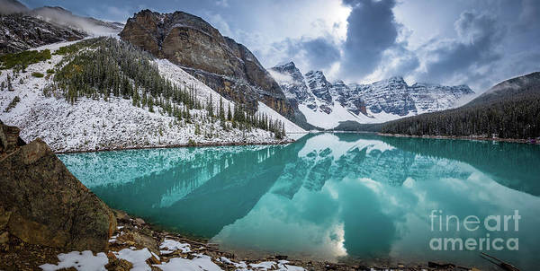 Canadian Rocky Mountains Photograph - Moraine Lake Panorama by Inge Johnsson