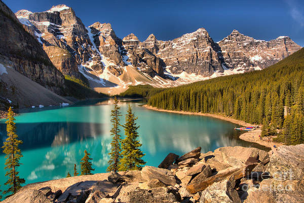 Photograph - Moraine Lake Rockpile Reflections by Adam Jewell