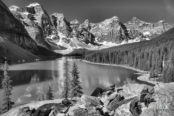 Photograph - Moraine Lake Rockpile Reflections Black And White by Adam Jewell