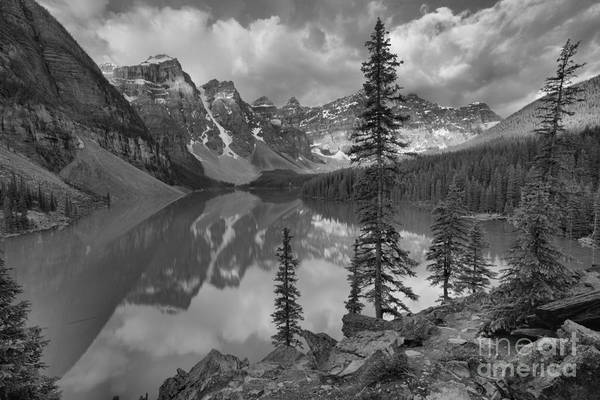 Photograph - Moraine Lake Rockpile Sunrise Black And White by Adam Jewell