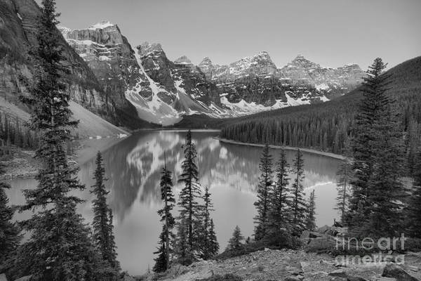 Photograph - Moraine Lake Spring 2019 Sunrise Black And White by Adam Jewell