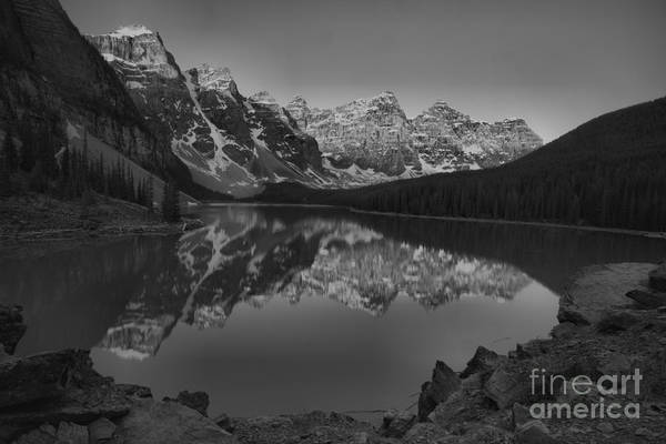 Wall Art - Photograph - Moraine Lake Spring Sunrise Reflections Black And White by Adam Jewell