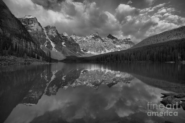 Photograph - Moraine Lake Summer Sunrise Glow Black And White by Adam Jewell
