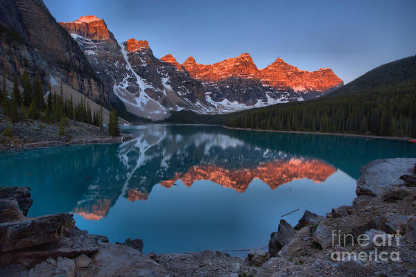 Wall Art - Photograph - Moraine Lake Sunrise Reflections Over The Rocks by Adam Jewell