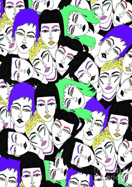 Neon Drawing - More Faces by Daisy De Villeneuve