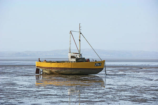 Photograph - Morecambe. Yellow Fishing Boat. by Lachlan Main