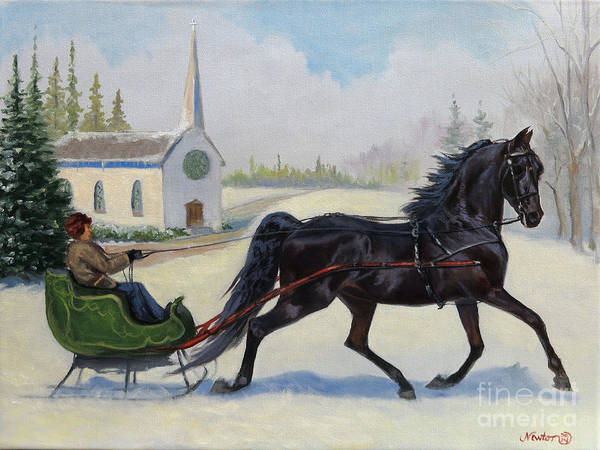 Wall Art - Painting - Morgan Sleigh Ride by Jeanne Newton Schoborg