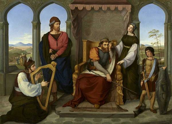 Jewish Music Wall Art - Painting - Moritz Daniel Oppenheim 1800 Hanau - Frankfurt Am Main 1882  David Playing The Harp For Saul, Rome 1 by Celestial Images