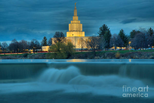 Photograph - Mormon Temple Over The Falls by Adam Jewell