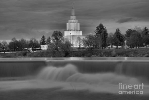 Photograph - Mormon Temple Over The Falls Black And White by Adam Jewell
