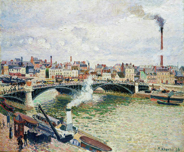 Riverbed Painting - Morning, An Overcast Day, Rouen - Digital Remastered Edition by Camille Pissarro