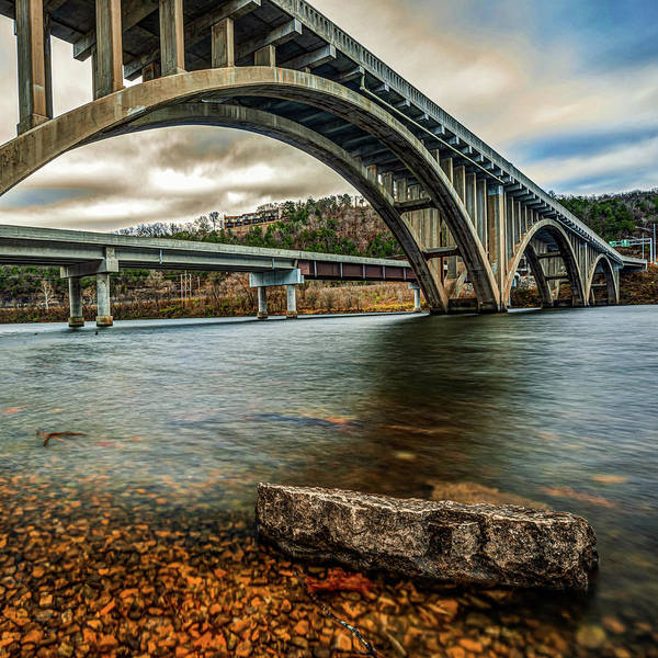 Photograph - Morning At Lake Taneycomo Bridge - Branson Mo by Gregory Ballos