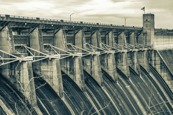 Wall Art - Photograph - Morning At The Table Rock Dam - Branson Missouri In Sepia by Gregory Ballos