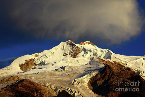 Photograph - Morning Cloud Over Huayna Potosi Cordillera Real Bolivia by James Brunker
