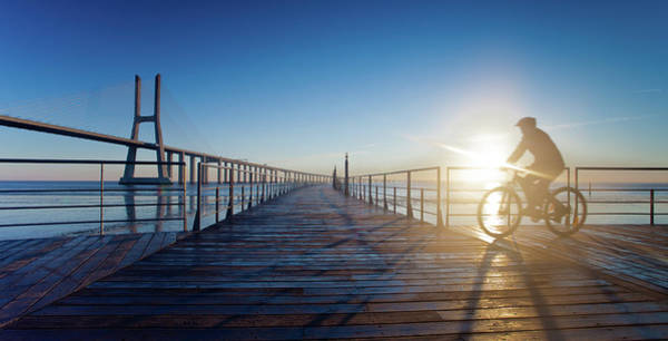 Vasco Da Gama Bridge Wall Art - Photograph - Morning Exercise by Landscape Photography