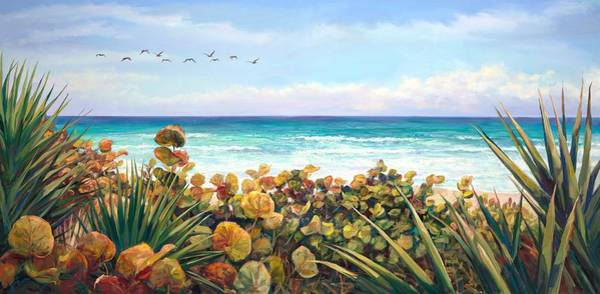 Sea Oats Painting - Morning Flyby by Laurie Snow Hein