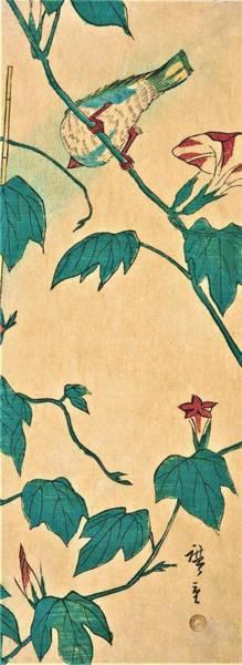 Glory Painting - Morning Glories And Bird by Utagawa Hiroshige