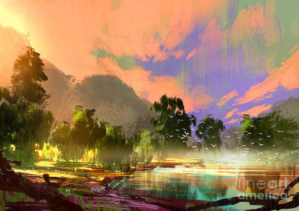 Wall Art - Digital Art - Morning Landscape With Fog And Warm Sky by Tithi Luadthong