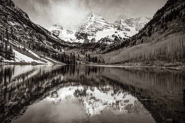 Photograph - Morning Light On Maroon Bells Peaks - Aspen Colorado - Sepia Edition by Gregory Ballos
