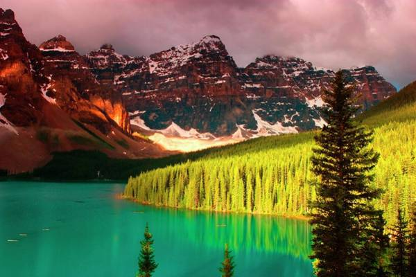 Moraine Lake Photograph - Morning Light On Moraine Lake In Banff by Myloupe/uig