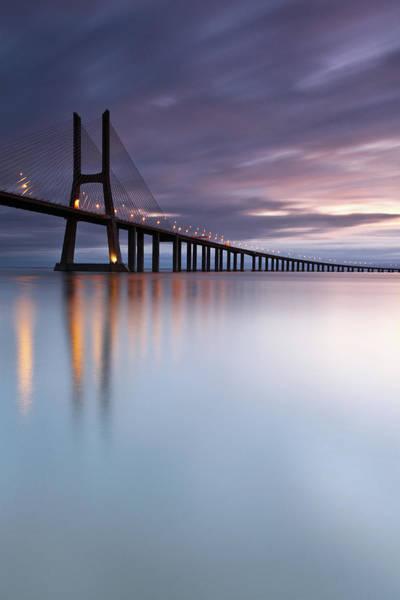 Vasco Da Gama Bridge Wall Art - Photograph - Morning Mirror- Vasco Da Gama Bridge by Searching For The Light