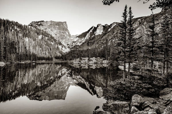 Photograph - Morning Mountain Landscape At Dream Lake - Estes Park Colorado - Sepia by Gregory Ballos
