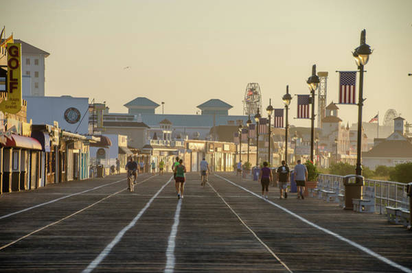 Wall Art - Photograph - Morning On The Boardwalk In Ocean City New Jersey by Bill Cannon