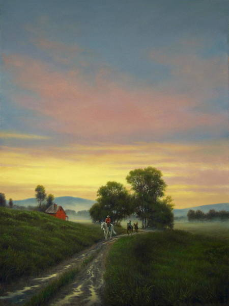 Wall Art - Painting - Morning Riders by Barry DeBaun