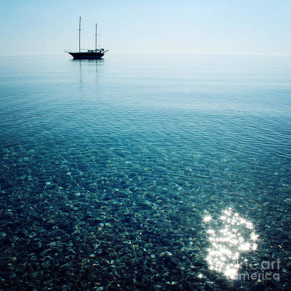 Wall Art - Photograph - Morning Sea With Boat On The Horizon by Lora Sutyagina
