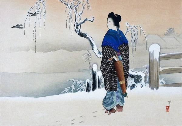 Snowscape Painting - Morning Snow - Top Quality Image Edition by Mizuno Toshikata