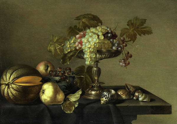 In Service Painting - Morning Still Life With Fruits And Shells by Cornelis Jacobsz Delff
