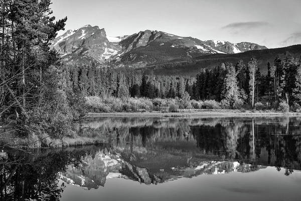 Photograph - Morning Stillness - Rocky Mountain Landscape At Sprague Lake - Monochrome by Gregory Ballos