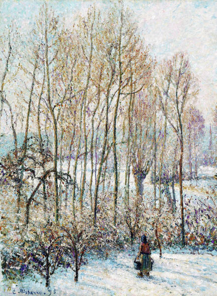 Country Living Painting - Morning Sunlight On The Snow, Eragny-sur-epte - Digital Remastered Edition by Camille Pissarro