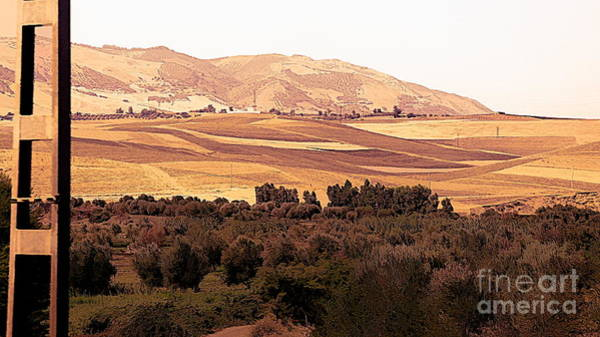 Moroccan Digital Art - Moroccan County Side View From Train Travel  by Chuck Kuhn