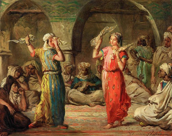 Belly Dancing Painting - Moroccan Dance With Handkerchiefs by Theodore Chasseriau