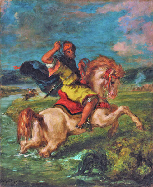 Wall Art - Painting - Moroccan Horseman Crossing A Ford - Digital Remastered Edition by Eugene Delacroix