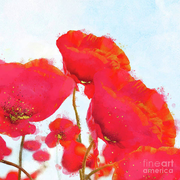 Wall Art - Painting - Morpheus' Garden Red Poppy Golden Pollen Watercolor Floral Art by Tina Lavoie