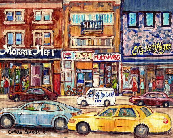 Wall Art - Painting - Morrie Heft Elizabeth Hager Le Chef Jj Joubert On Queen Mary Rd Stores C Spandau Montreal by Carole Spandau