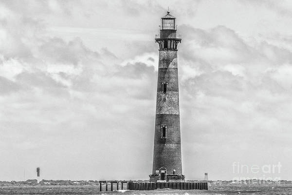 Photograph - Morris Island Lighthouse - Charleston Monochrome by Dale Powell