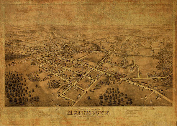 New Jersey Mixed Media - Morristown New Jersey Vintage City Street Map 1876 by Design Turnpike