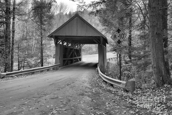 Photograph - Morristown Red Covered Bridge Black And White by Adam Jewell